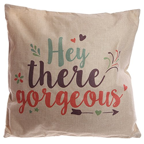 Puckator CUSH95 Housse/Coussin Design Hey There Gorgeous Gris Clair/Vert/Prune/Rouge 43 x 43 cm
