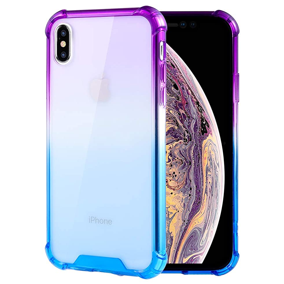 Caka Clear Gradient Case Compatible for iPhone Xs Max Slim Anti Scratch Grip Premium Clarity Crystal PC Back TPU Bumper Protective Case Replacement for iPhone Xs Max - (Blue Purple)