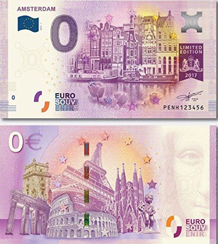 I LOVE KÖLN 0-Euro-Schein, Banknote 0 Euro Amsterdam, Souvenir Null Euroschein für Sammler
