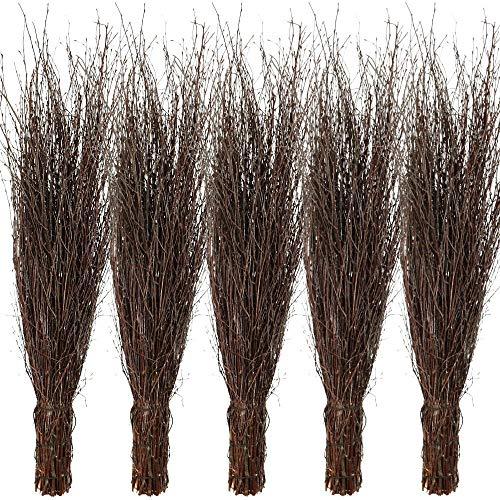 Agrarflora 5X Birken-Reisigbesen im Bund, Strauchbesen, Hexenbesen aus Birkenreisig, Reiserbesen, handgefertigt, 3-Fach gebunden, 5er-Sparset, Besen, Reisig, ohne Stiel