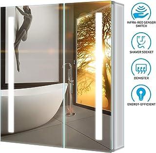 Tokvon Penumbra Muebles de baño con luz LED Mueble de Espejo de Aluminio con Enchufe para máquina de Afeitar Interruptor de Sensor IR antivaho Puerta Doble 630x650 mm para Afeitar el Maquillaje