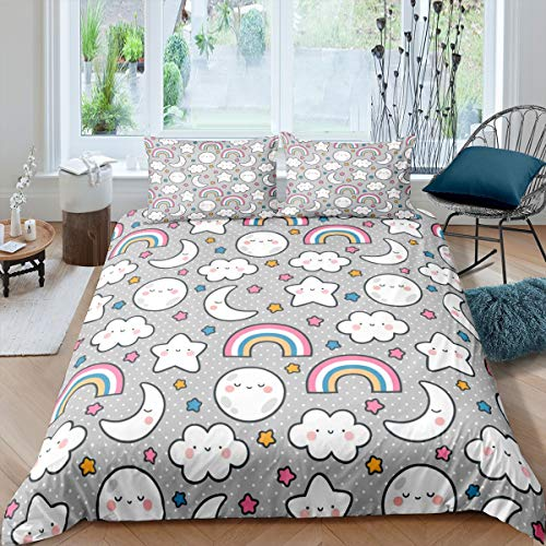 Tbrand Kids Duvet Cover Rainbow Clouds Stars Moon Bedding Set Child Boys Girls Cartoon Comforter Cover Cute Children Bedspread Cover Baby Toddler Bedroom Collection 3PcsKing Size
