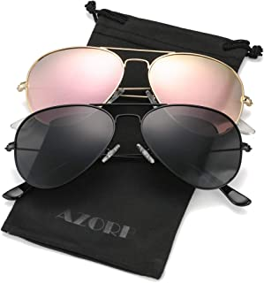 AZORB Polarized Aviator Sunglasses Mirrored Lens Metal Frame for Men Women, 58MM