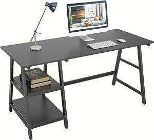 DlandHome 55 Inches Large Computer Desk, Trestle Desk, Home Office Desk/Workstation/Writing Table with Opening Shelves, Black, TP-140BB