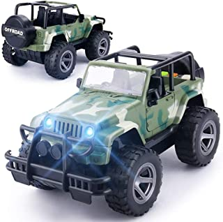YesToys Toy Car Off-Road Military Fighter Friction Powered Toy Vehicle with Fun Lights & Sounds(Green)