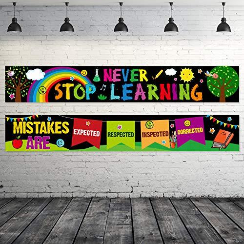 2 Stück Motivierende Klassenzimmer Banner Poster Positive Pädagogische Klassenzimmer Dekorationen Inspirierende Wand Banner Poster mit 40 Stück Klebepunkten, 61 x 9,5 Zoll