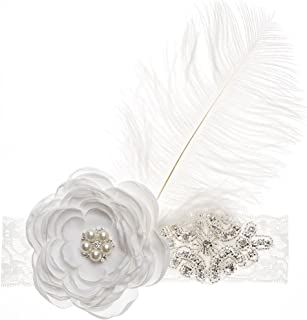 Baby Girl Infant Lace Feather Flower Pearl Crystal Hairband Headband