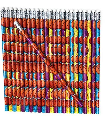 Lucky Pine Basketball Pencils, Kids Sport Pencils (24 pencil set)