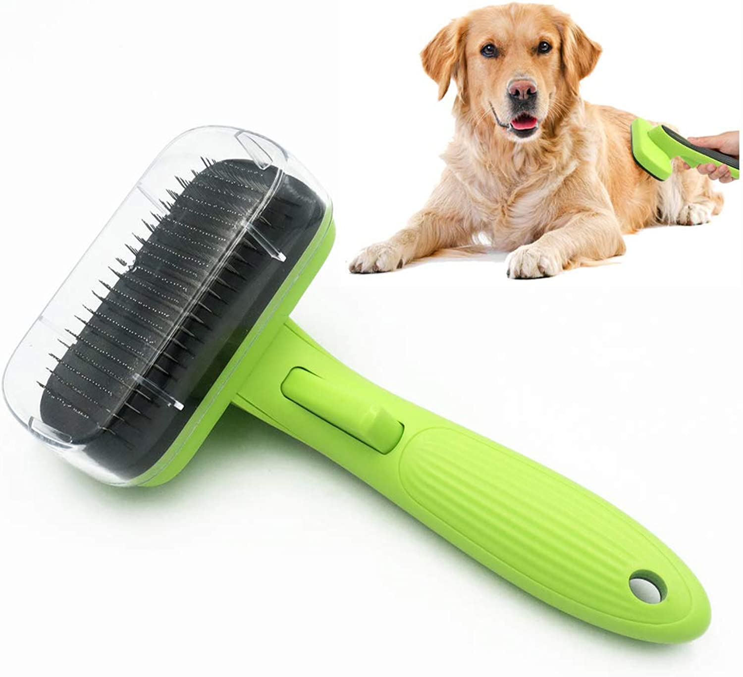 Pet Self Cleaning Slicker Brush, Dog Deshedding Brush, Retractable, Easy Clean,for Large to Small Dog or Cat with Short to Long Hair[2pcs]
