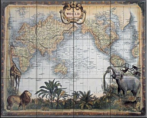 Keramik Fliesenbilder - Weltkarte - von Unknown - Küche Aufkantung / Bad Dusche