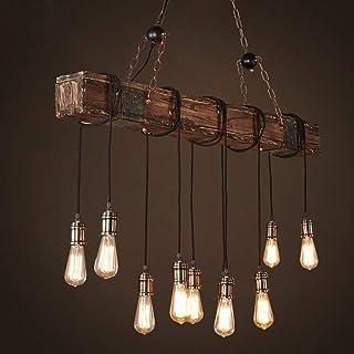 Luz colgante de techo vintage industrial, lámpara de estilo industrial Iluminación colgante Es Adecuado para Cocina, Cafetería, Bar, mesa de comedor (10 cabezas)