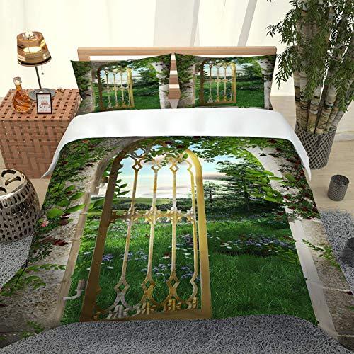Oukeep Funda Nórdica De Microfibra 3D Adecuado para Dormitorio, Ropa De Cama De Hotel 1 Funda Nórdica 2 Fundas De Almohada