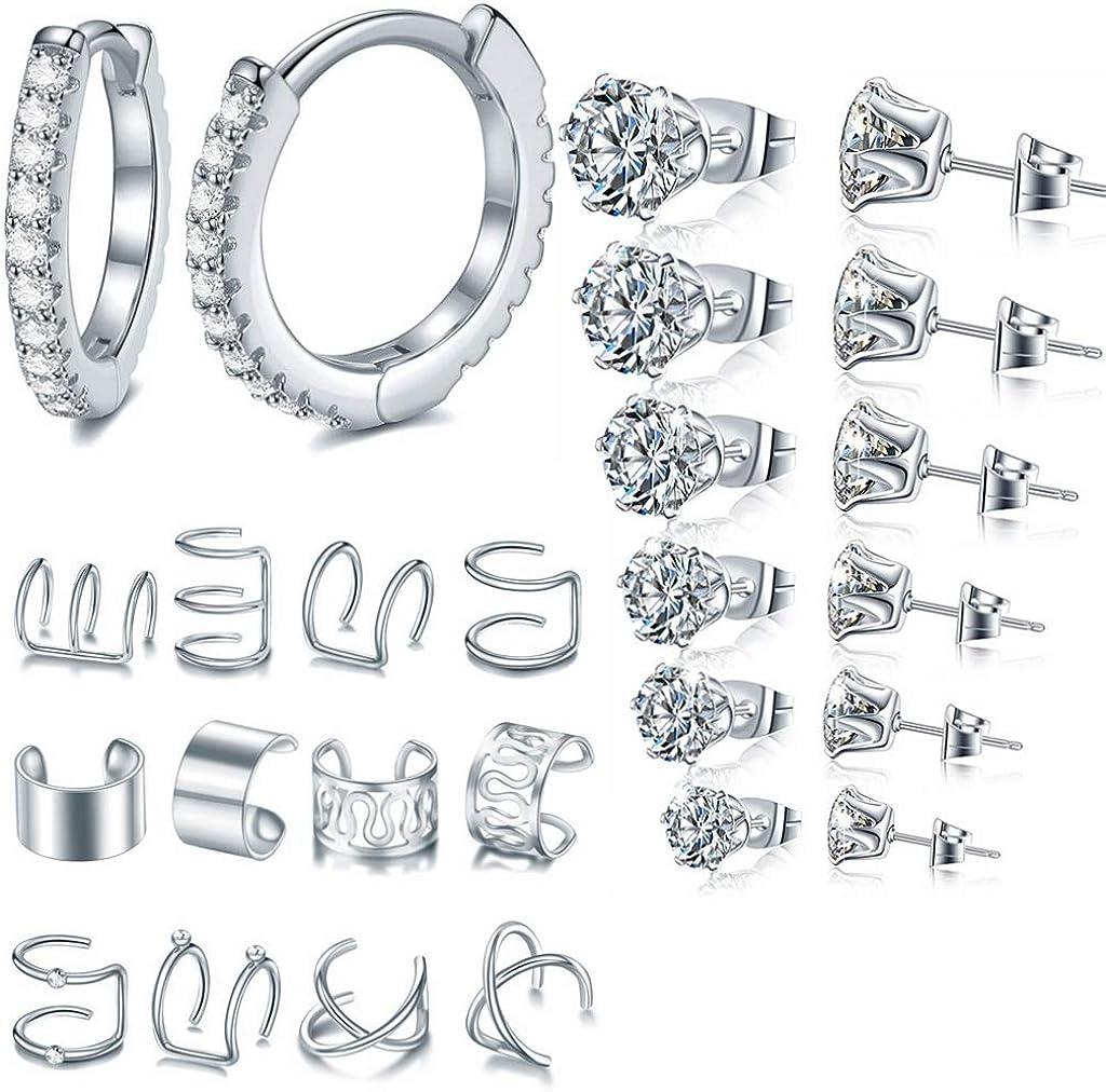 26 Max 63% OFF Pcs Cubic Zirconia Ear Atlanta Mall Cuff Set Copper Hoop Stainles Earrings