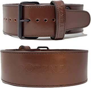 Potenza Fitness Classic Powerlifting Belt | 10 mm | Powerlifting, Strongman, Bodybuilding | Genuine Leather | Single Prong...