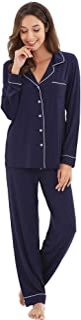 WiWi Bamboo Pajamas Set for Women Long Sleeve Sleepwear Button Down Nightwear Soft Pj Lounge Sets Loungewear S-3X