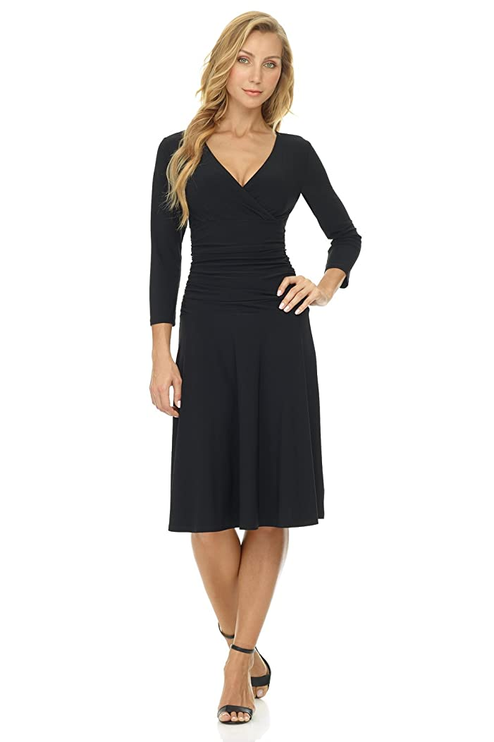 Rekucci Women's Slimming 3/4 Sleeve Fit-and-Flare Crossover Tummy Control Dress Petite