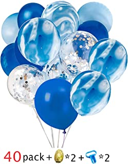 40 Pcs Blue & Silver Confetti Balloons Agate Marble Stripe Assorted Colors Party Balloon for Birthday Wedding Party Decoration Supply -Giving 2 Pcs Balloon Tying Tool and 2pcs 10m Gold Curling Ribbon