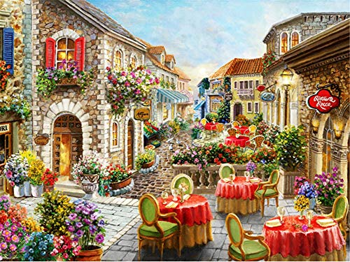 5D DIY Diamond Painting by Number Kit Town Street Square Drill,120x90cm Adults and Kids Full Drill Beads Crystal Rhinestone Embroidery Cross Stitch Supplies Arts Craft for Home Wall Decor U3494