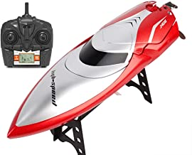 KRCT 150M Distance Remote Control Boat with LCD Remote Control Professional 2.4G RC Fast Boat 30km/h High Speed Electric Speedboat Model Rechargeable RC Ship (Size : 2 Battery)