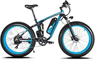 Cyrusher XF800 Fat Tire Electric Bike 1000W 48V Mens Mountain Bike Snow Ebike 26inch Bicycle Full Suspension Fork Hydraulic Brakes …