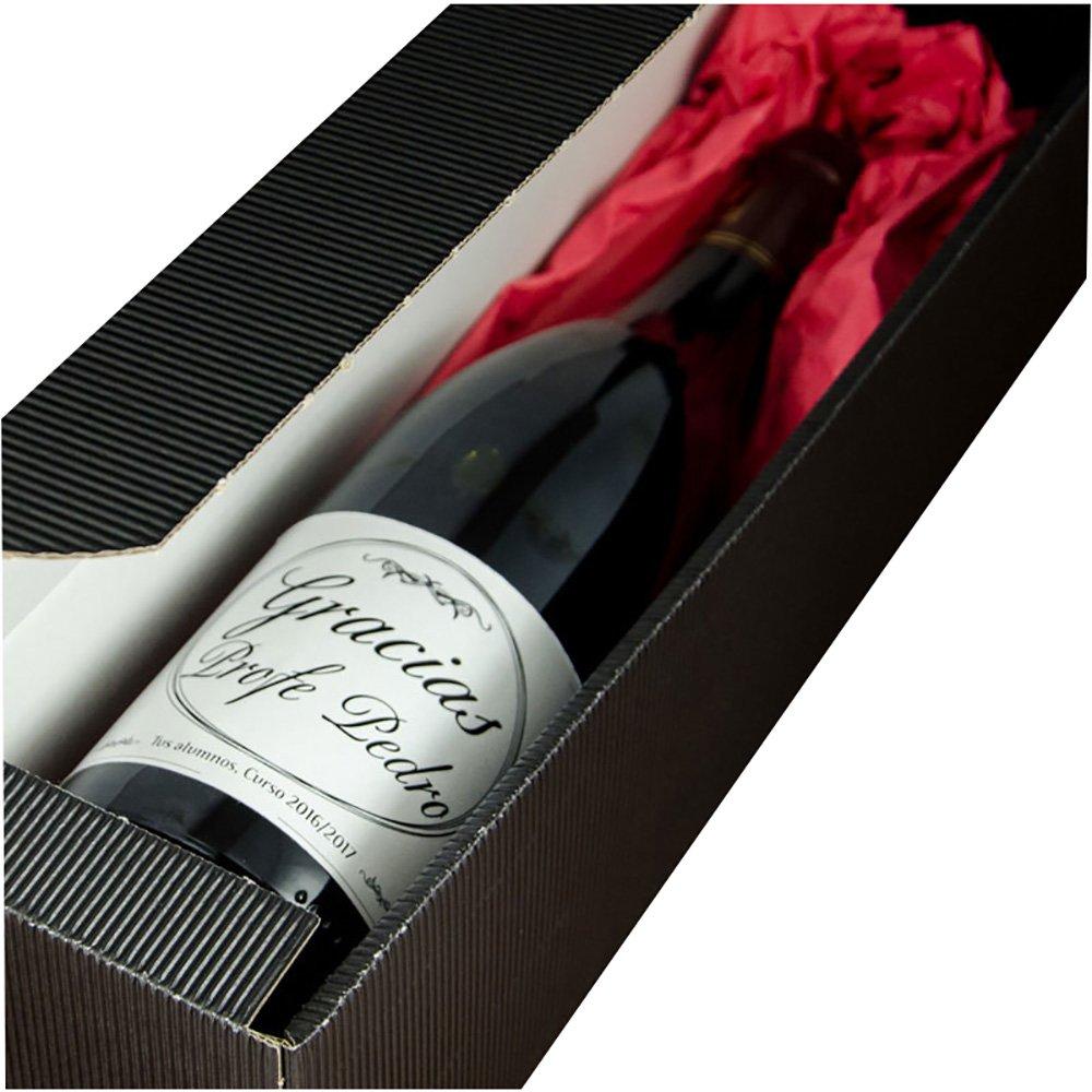 Calledelregalo Regalo para Profesores Personalizable: Botella de Vino Gracias Profe Personalizada con su Nombre y la Fecha y dedicatoria Que tú Quieras: Amazon.es: Hogar