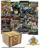 3 Sealed Random Pokemon 10 Card Booster Packs Lot with Random 50 Pokemon Card Bundle! Includes Golden Groundhog Treasure Chest Storage Box!