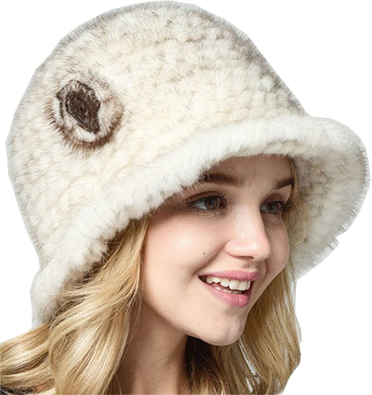 MS.MINSHU Hand Knitted Mink Fur Cap Women Hat Mink Fur Hat Winter Warm Hat Lady's Cap