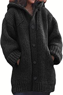Womens Casual with Hooded Sweater Long Sleeve Warm Button Loose Knitted Jumper Thicken Coat Overcoats Tops