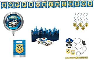 Police Themed Birthday Party Supplies, Decorations (Banner, Balloons, Centerpiece, Danglers, Photo Props, Loot Bags) 7-Piece Bundle