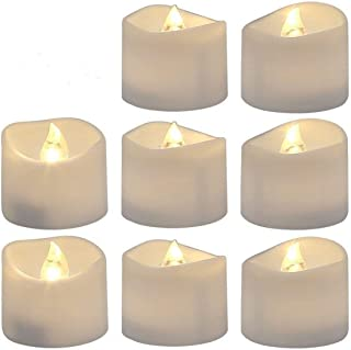 Flameless Tea Light Flickering Bulb Battery Operated ,Realistic and Bright Led Candle Lights Electric Fake Candles,Wave Open and Warm White,Pack of 12