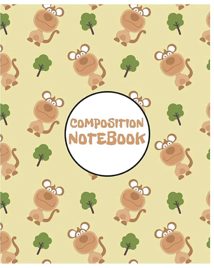 Composition Notebook: Cute Monkey Notebook/Journal for Adults/Children Animals Lovers to Writing (8x10 Inch. 20.32x25.4 cm.) Wide Ruled Lined Paper 120 Blank Pages (BROWN&WHITE&GREEN Pattern)