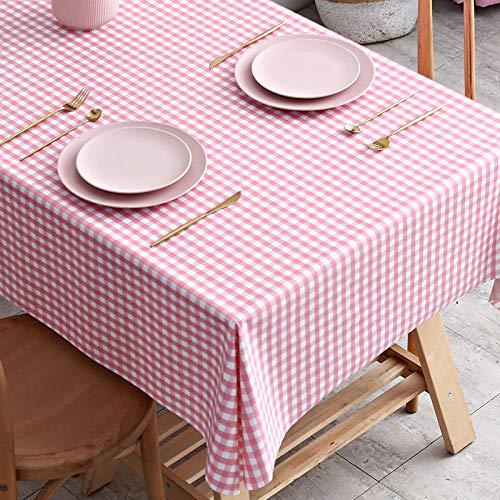 ZXCN Mantel para Mesa de Cocina o Salón Hojas Rectangular PVC Resistente Al Desgaste Impermeable Diseño de Comedor Decoración del Hogar Rosa 110×160cm