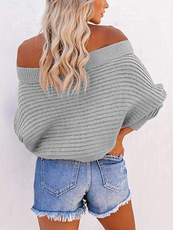 Mafulus Women's Off Shoulder Sweater Batwing Long Sleeve Loose Oversized Pullover Knit Jumper Tops