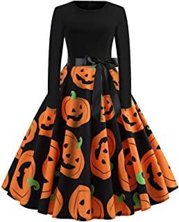 Clearance Halloween Dress, Toamen Women Pumpkin Skull Skater Evening Party Prom Cocktail Swing Dress Vintage Elegant A-lin...