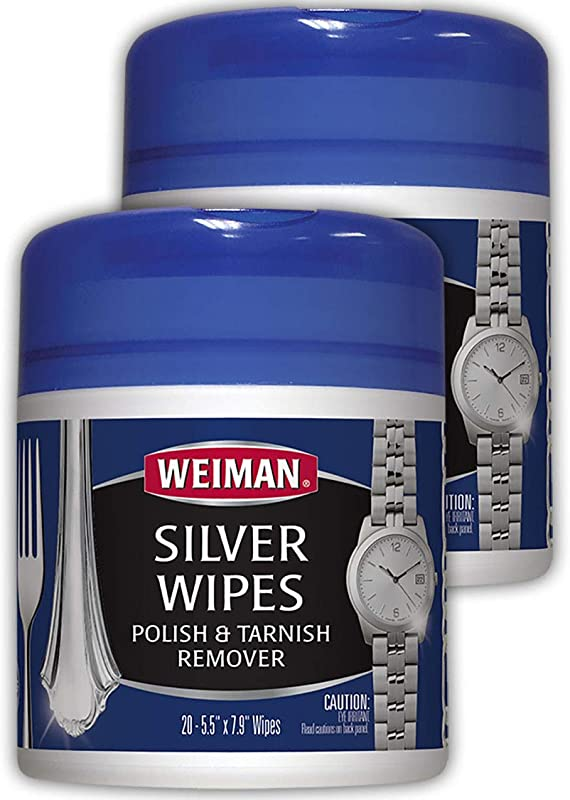 Weiman Jewelry Polish Cleaner And Tarnish Remover Wipes 20 Count 2 Pack Use On Silver Jewelry Antique Silver Gold Brass Copper And Aluminum