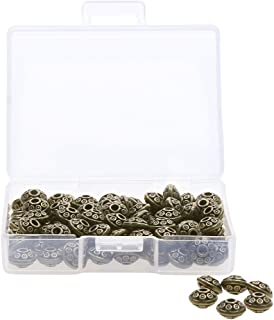Shapenty 6MM Small Metal Disk Spacer Charm Beads Bulk for DIY Craft Necklace Bracelet Jewelry Finding Making, 100PCS (Antique Bronze)