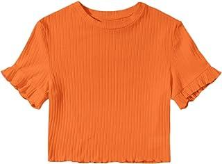 SweatyRocks Women's Summer Letter Print Crop Top T-Shirts Casual Short Sleeve Cropped Tee