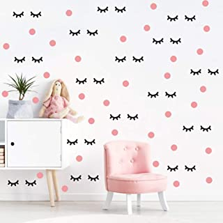 IARTTOP Lovely Eyelash Wall Decal with Pink Dots Wall Sticker (98Pcs), Sleepy Eye Eyelash Vinyl Decal for Kids Bedroom Decor, Makeup Sticker for Girls Wall Art