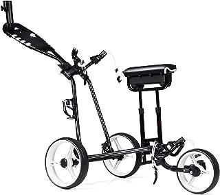 Tangkula Golf Push Cart w/ 3 Wheels Golf Trolley with Stool Scoreboard Swivel Push Golf Cart