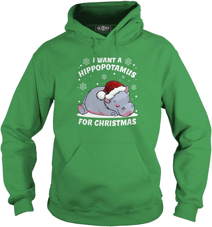 Sleeky I Want A Hippopotamusfor Christmas Adult Hooded Sweatshirt