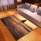 DRTWE Alfombra,Teppich,Velvet Area Rug For Living Room Sea Sunset Printed Large Size Anti-Skid Fluffy Shaggy Rug Bedroom Doorway Carpet Nursery Play Pad Carpet Runner,160 * 200Cm