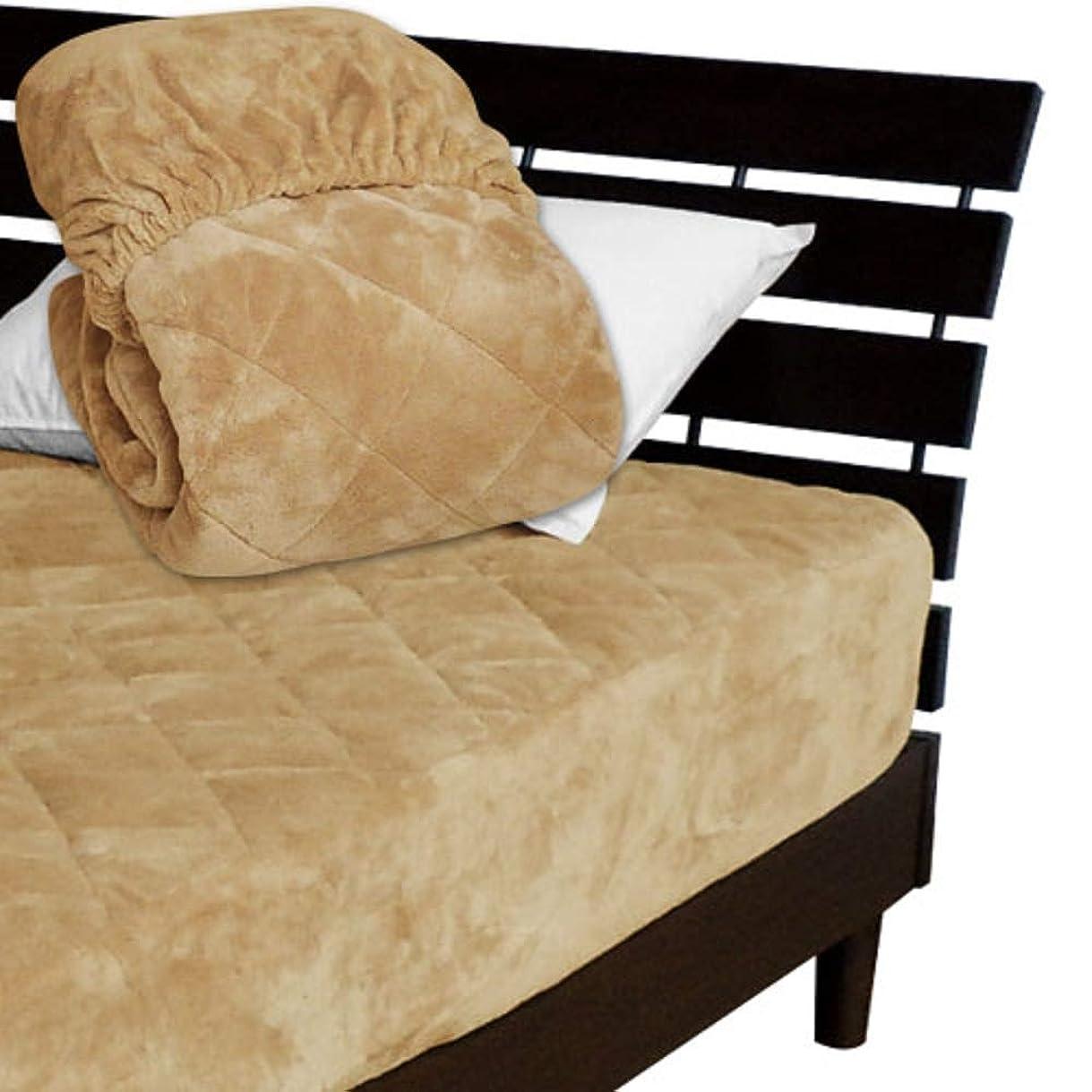 男やもめパリティホイッスル一体型 ベッドパッド ボックスシーツ を一体にした新商品 毛布生地で製造 メーカー直販 とろけるような肌触りふわふわ 一体型ボックスシーツ ワイドダブル 150×200×30cm キャメル