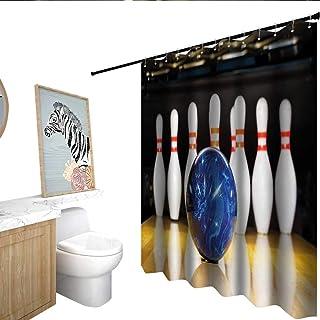Bowling Game Digital Print Shower Curtain Pins Strike Blue Ball Sport Bath Decor