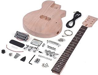 ZGHNAK Kit de guitarra eléctrica de bricolaje sin terminar Caoba Cuerpo y cuello Diapasón de palisandro