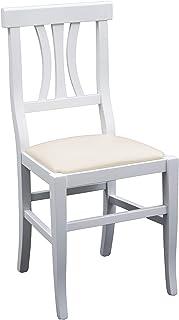 White Loft - Juego de 2 sillas Blancas con Fondo de Piel sintética, Color Crema, 46 x 44 x 90 cm