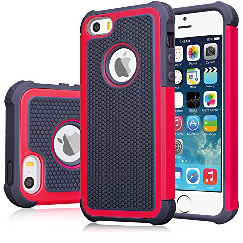 iPhone SE Case, iPhone 5S Cover, Jeylly Shock Absorbing Hard Plastic Outer + Rubber Silicone Inner Scratch Defender Bumper Rugged Hard Case Cover for Apple iPhone SE/5S - Red