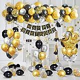 SPECOOL Decoraciones de Fiesta de Cumpleaños de Lujo con Pancarta de Feliz Cumpleaños en Oro...