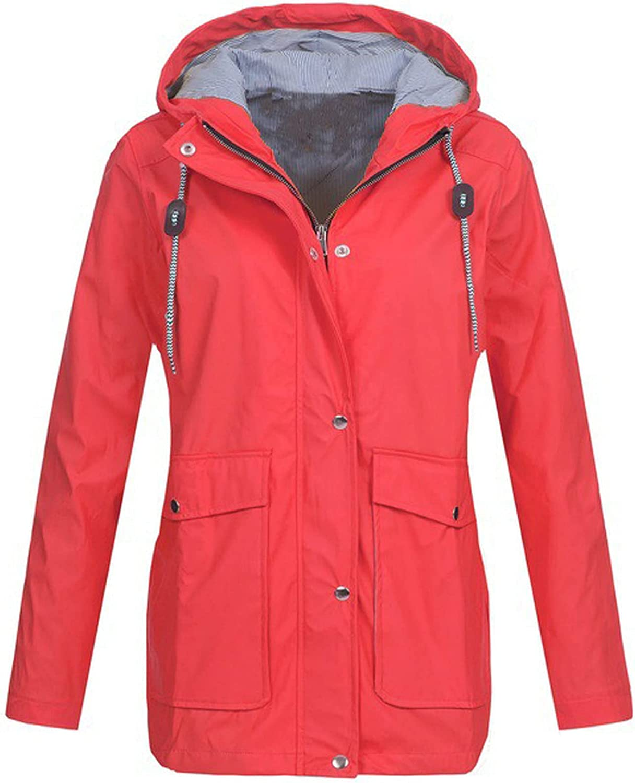 VonVonCo Pullover Tops for Women Pure Rain Long Sleeve Outdoor Casual Plus Size Raincoat Windproof Jacket Coat