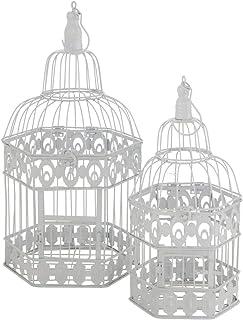 CasaJame - Jaula decorativa de metal (2 unidades, 39-48 cm), diseño vintage, color blanco