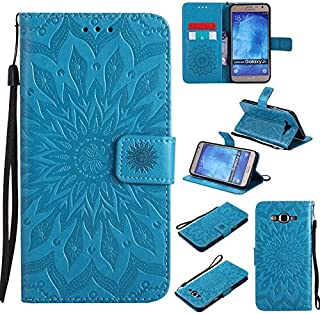 Protective Case Compatible with Samsung Sun Flower Printing Design PU Leather Flip Wallet Lanyard Protective Case with Card Slot/Stand Compatible Samsung Galaxy J7 2015 Phone case (Color : Blue)